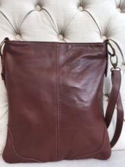 Italian Leather Crossbody Brown - L129