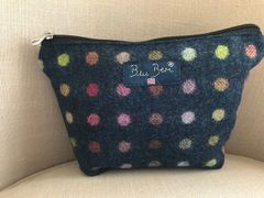 Tweed Make-up Bag Navy Spot