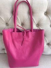 Italian Leather Tote Bag - Fuschia Pink