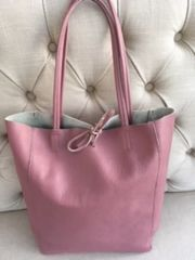 Italian Leather Tote Bag - Rose Pink