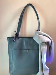 Italian Leather Shopper with Zip - Denim Blue