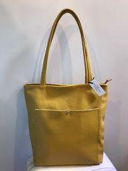 Italian Leather Shopper with Zip - Mustard