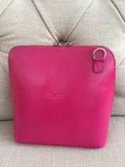 Italian Leather Crossbody Bag - Fuschia