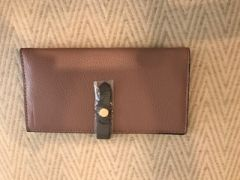 Leather Purse Pink with Grey Trim