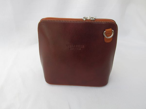 Italian Leather Small Crossbody Bag - Brown/Tan