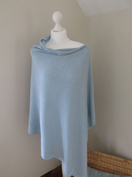 Italian Cashmere Blend Poncho - Powder Blue