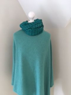 Italian Cashmere Blend Poncho - Jade