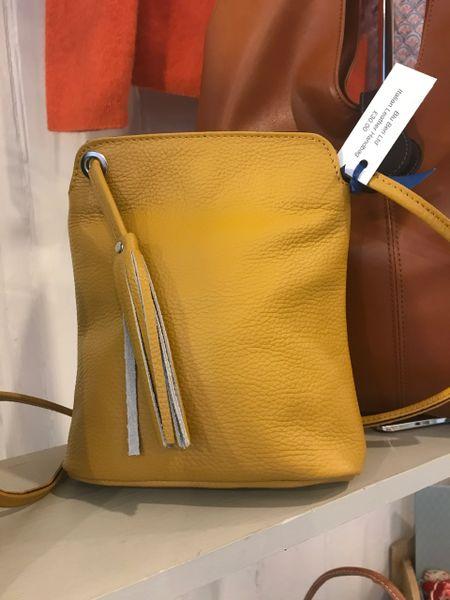 Italian Leather Small Tassel Bag Mustard