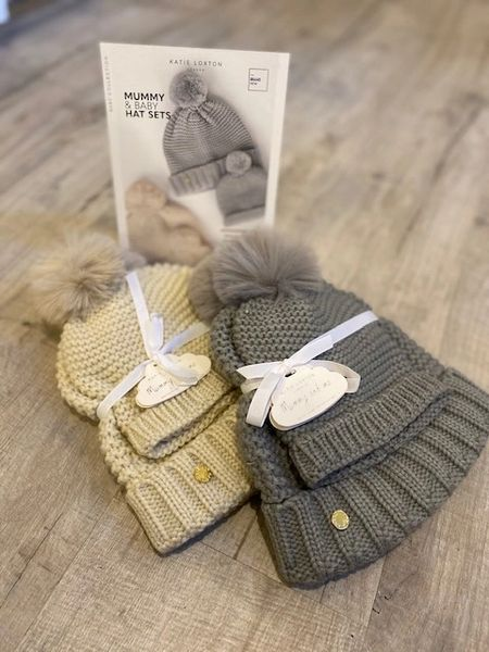 Katie Loxton Mummy & Baby Bobble Hats Grey