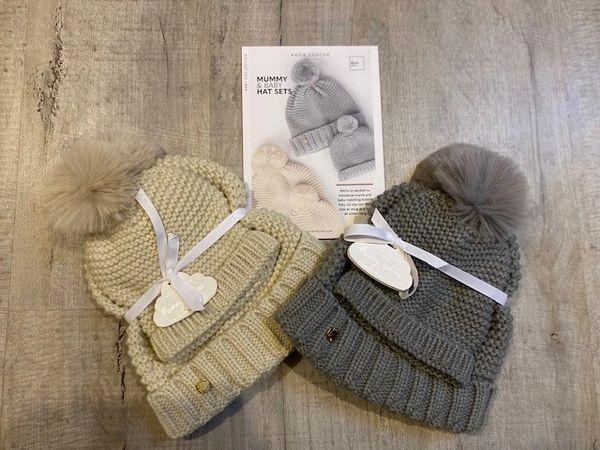Katie Loxton Mummy & Baby Bobble Hats - Cream