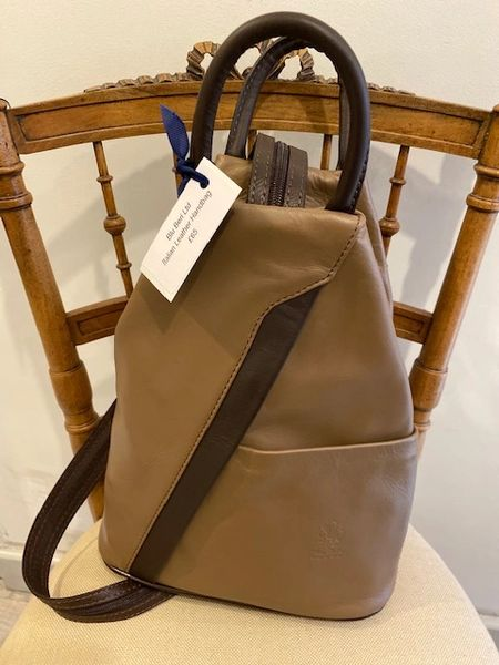 Italian Leather Backpack - Taupe Chocolate Trim