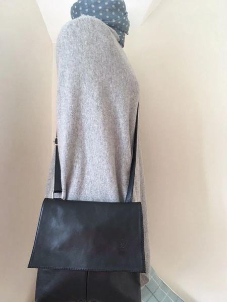 Italian Leather Crossbody Bag Navy Blue