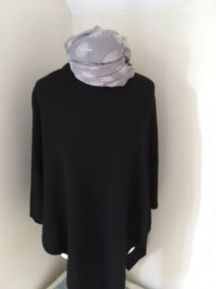 Cashmere Blend Poncho - Black