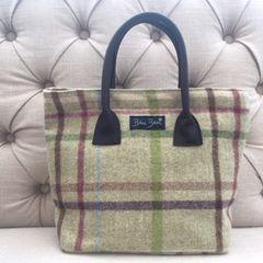 Blu Beri Tweed Handbag Lime Check W18