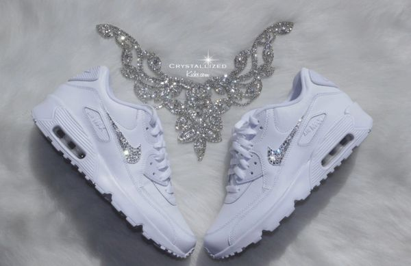 big sale 0e42a 1510f Nike Air Max 90 White Shoes Made with SWAROVSKI® Crystals - White/White