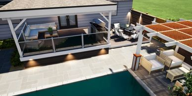 This is a 3 D deck and landscape design of a deck in Oakville.  The deck includes aluminum railing.