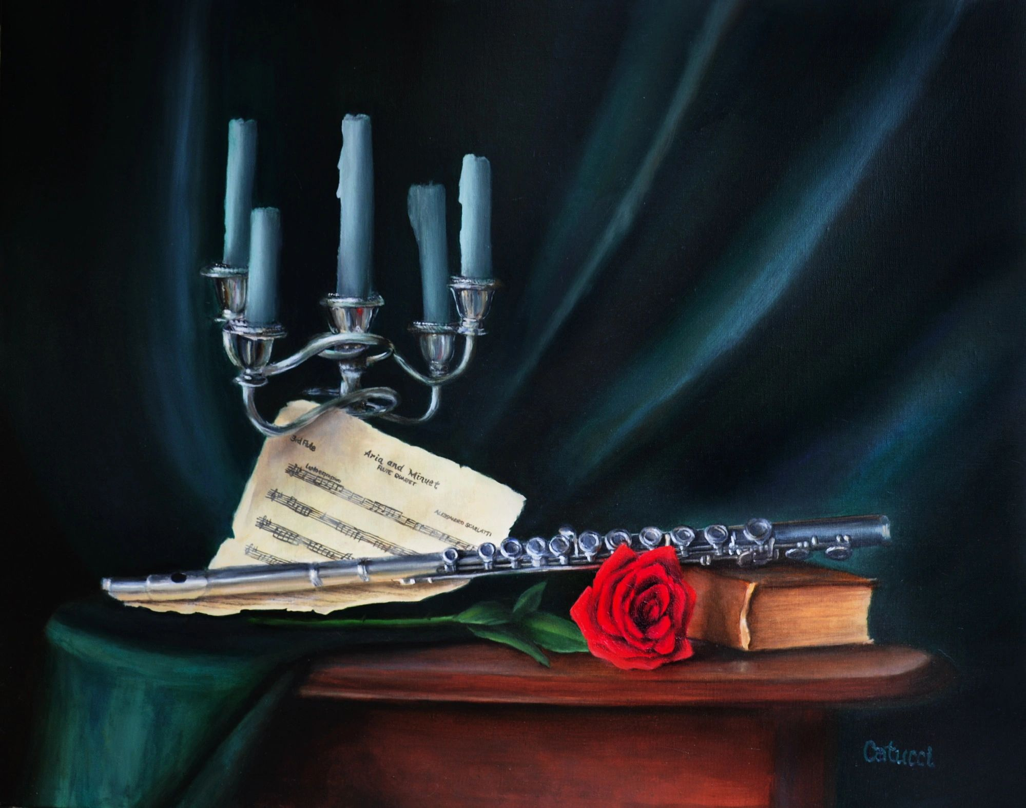 Fine Art Oil Painting Flute Music