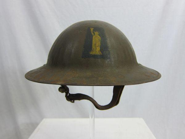 """WWI US 77th Division Helmet, """"Liberty Division"""" Britsh Manufactered Helmet """"Brodie Helmet""""- ORIGINAL -"""