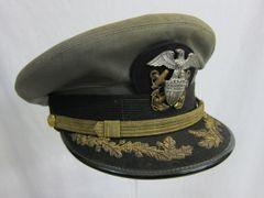 "WWII U.S. Naval Officer's Gray 1943 style ""working uniform"" Visor Cap - ORIGINAL -"