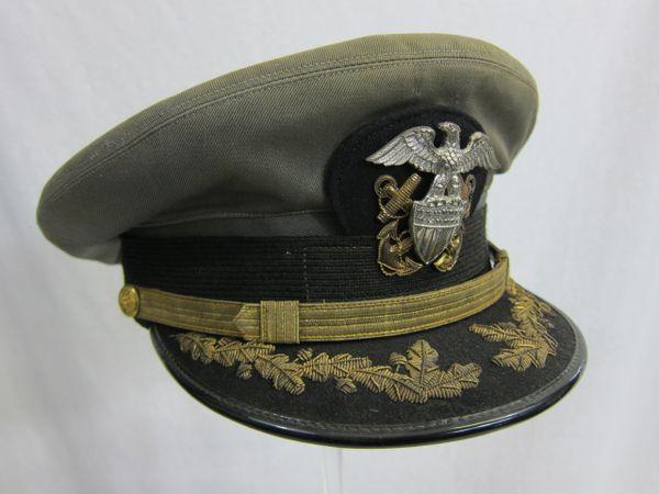 "WWII U.S. Naval Officer's Gray 1943 style ""working uniform"" Visor Cap - ORIGINAL - SOLD"