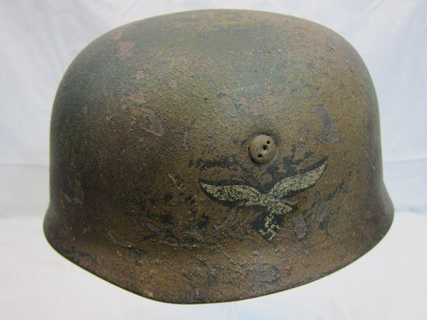WWII German Paratrooper Helmet, Camouflag, Original, ID'd, Singl Decal -ORIGINAL VERY RARE