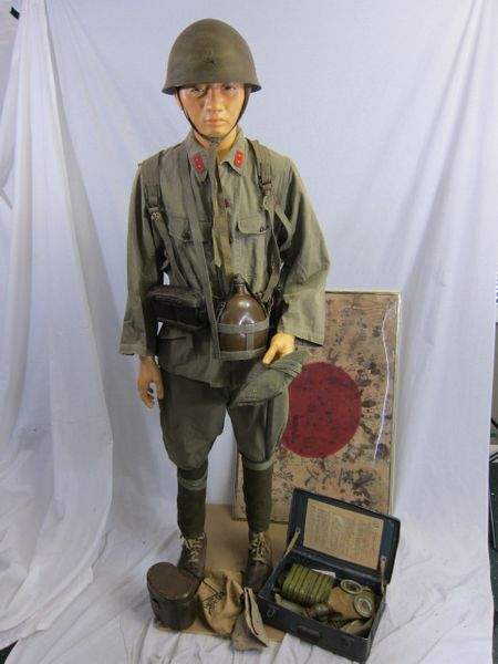 WWII Japanese Soldiers Tropical Battle Tunic and Battle Signed Flag - ORIGINAL -