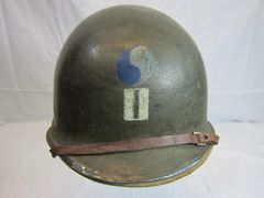 WWII U.S. M1 Helmet Steel Pot, Swivel Bale, Front Seam w/Hawley Liner Complete, 29th Inf. Div.Insignia on front, ID'd - D-Day Landing - ORIGINAL RARE-