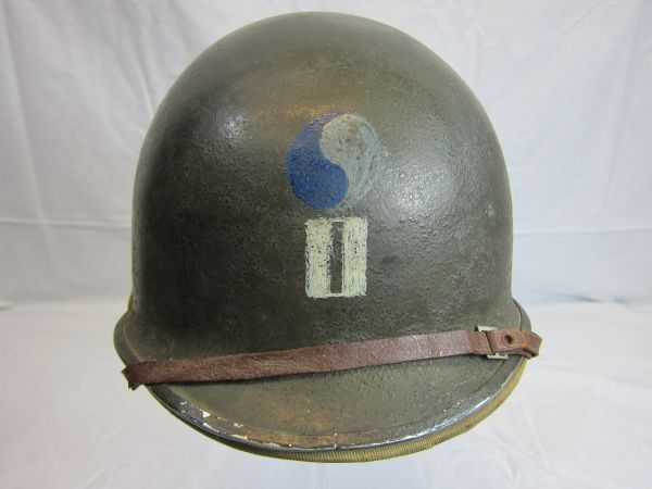 WWII U.S. M1 Helmet Steel Pot, Swivel Bale, Front Seam w/Hawley Liner Complete, 29th Inf. Div.Insignia on front, ID'd - D-Day Landing - ORIGINAL RARE-SOLD