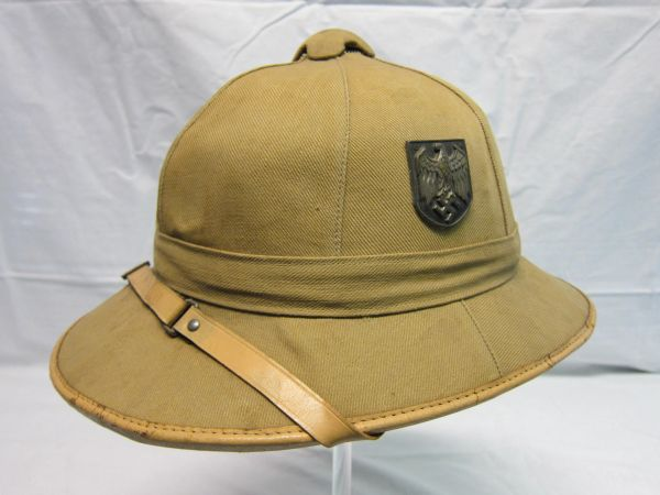 WWII German Tropical Pith Helmet, Two Badge, First Model - ORIGINAL -