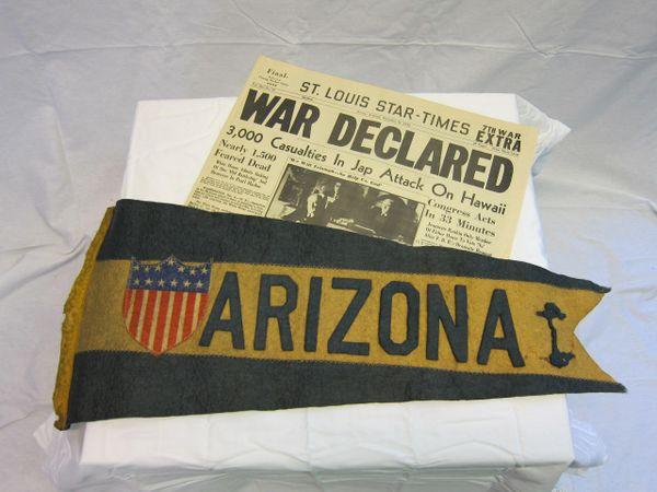 USS Arizona - Pennant Swallowtail Flag, w/13 stars in a military shield - ORIGINAL RARE -