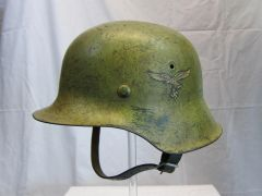 WWII German Luftwaffe Single Decal M42 Helmet, Italian Campaign Camouflage - ORIGINAL RARE -