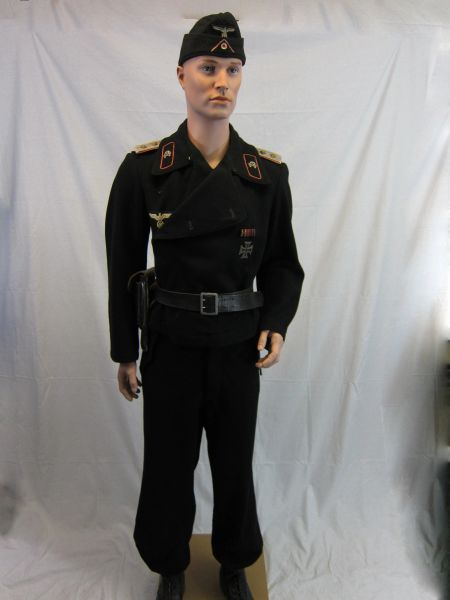 WWII German Officers Black Panzer Wrap Field Jacket, Uniform Group -ORIGINAL VERY RARE-