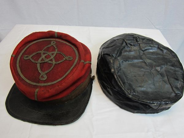 Civil War - Confederate Lieutenant's Artillery Kepi, with Oilcloth Rain Cover - ORIGINAL VERY RARE - SOLD