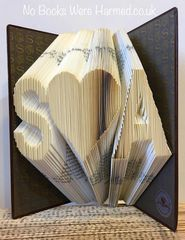 Your choice of initials, either side of a love heart : : Valentines, love token, wedding or anniversary present of folded book art ♥