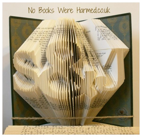 Your choice of initials, either side of an ampersand & : : Valentines, love token, wedding or anniversary present of folded book art