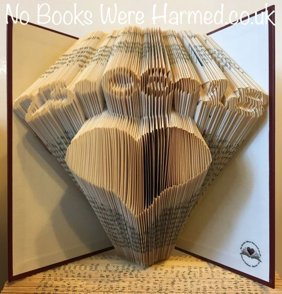 ♥ Personalised keepsake date arched over a heart : carefully hand folded into the pages of a book ♥ Birthday, Wedding, Anniversary ♥