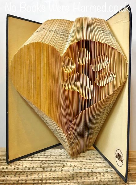 READY TO POST Inverted paw within a heart : : hand folded book art ♥