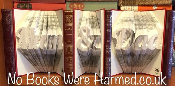 """Mum"" ""&"" ""Dad"" Tryptch handfolded into the pages of 3 books : : Fanky Style #1"