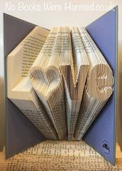 """L♥ve"" Love with hollow heart 'o' : : Hand folded, Non cut book art"