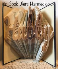 "READY TO POST ""Hubby"" : : Hand folded, Non cut book art : : Wedding, Anniversary, husband"