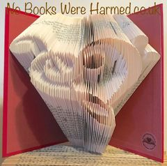 Musical Hand folded book art : : Treble clef & Bass clef love heart