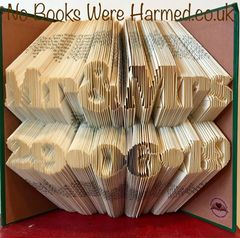 ♥ Personalised keepsake Mr & Mrs and date, carefully hand folded into the pages of a book ♥ Wedding Anniversary ♥