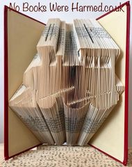 READY TO POST Train Locomotive Steam Train : : Hand folded, Non cut book art