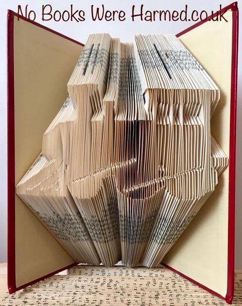 Train Locomotive Steam Train : : Hand folded, Non cut book art