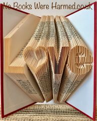 "READY TO POST ""L♥ve"" Love with hollow heart 'o' : : Hand folded, Non cut book art"