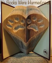 Two inverted paws within a heart : : hand folded book art ♥