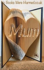 "READY TO POST ""Mum"" in love heart : : Hand folded, designer made, non cut book art"