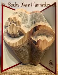 READY TO POST Infinity heart & paw print: : Hand folded, designer made, non cut book art