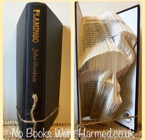 Flamingo : : hand folded book art
