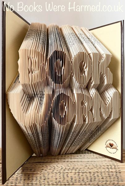 READY TO POST : : BOOK WORM : : Hand folded, Non cut book art
